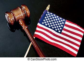 gavel, e, americano, justice.