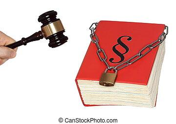 gavel, e, livro lei, com, corrente