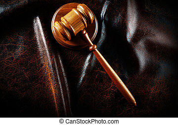 gavel from above - Judges legal gavel in dramatic light from...