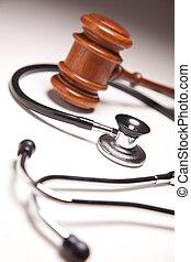 gavel, gradated, stetoskop, tło