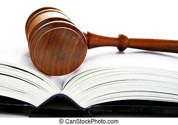 gavel, het leggen, op, een, een, open, wet boek
