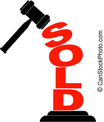 gavel hitting the word sold isolated on white