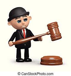 gavel, homem negócios, 3d, auctioneer's