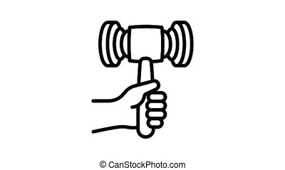 Gavel in hand icon animation best object on white background