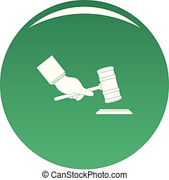 Gavel in hand icon vector green