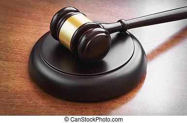 gavel juge, sur, a, table bois