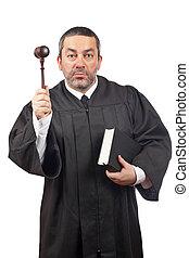 gavel, juiz, livro, segurando