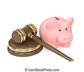 gavel, jurídica, cofre, 3d