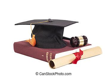 gavel, książka, kapelusz, dyplom, skala