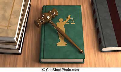 gavel, ligado, um, livro lei