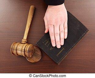 gavel, livro, lei, mão