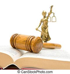 gavel, livro lei, um, estátua, de, justiça, ligado, um, fundo branco