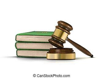 gavel madeira, e, livros, de, lei