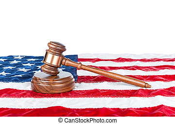 Gavel on American flag - Gavel and sound block on an...