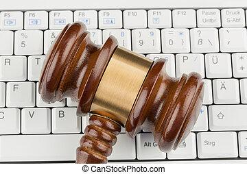 gavel on keyboard