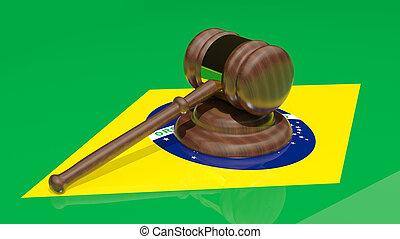 Gavel on the flag of Brazil