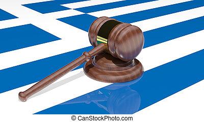 Gavel on the flag of Greece