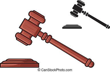 gavel, rechter, -, hamer