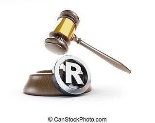 gavel registered trademark sign 3d Illustrations on a white...