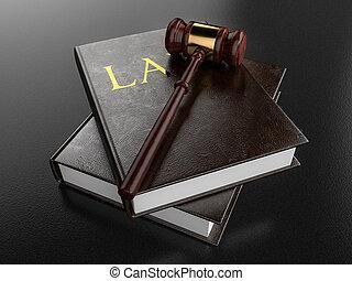 Gavel Resting on Law Books - 3D Illustration