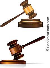 gavel, sędzia, biały, albo, auctioneers
