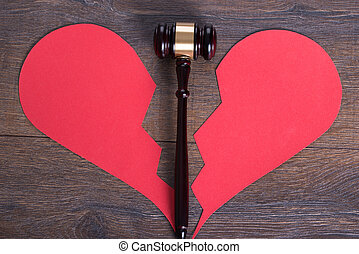 gavel, serce, pojęcie, rozwód