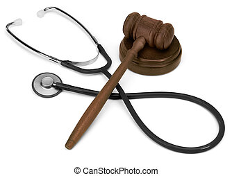 gavel & stethescope - gavel and stethescope on white...
