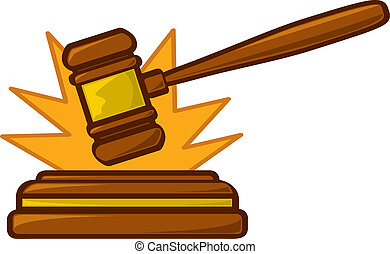 Gavel Striking Loud - A cartoon judge's gavel striking...