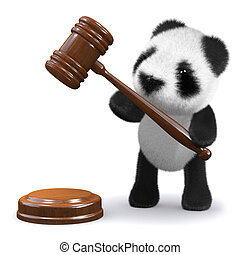 gavel, urso panda, 3d