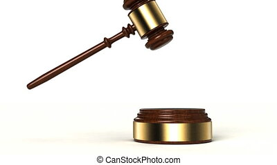 Gavel - 2 clips - 3D animation of gavel hitting the sound...
