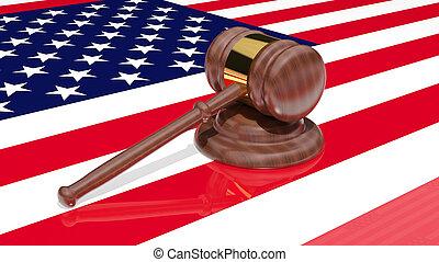 gavel, vlag, amerika