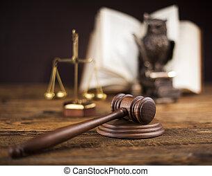 gavel, wet, thema, rechter, slaghamer