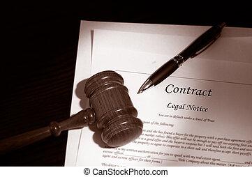 gavel, wettelijk contract