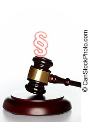 gavel with red paragraph symbol
