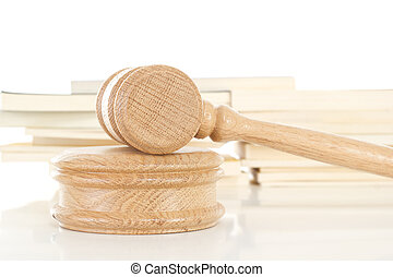 Gavel with some law books