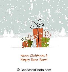 gaver christmas, hilsen card, by, din, konstruktion