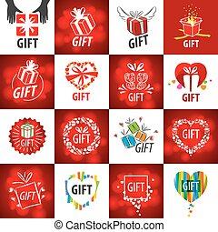 gaver, logos, vektor, samling, størst