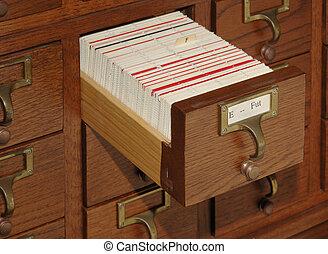 gaveta, catálogo, arquivo cartão