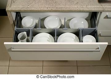 gaveta, em, um, modernos, cozinha