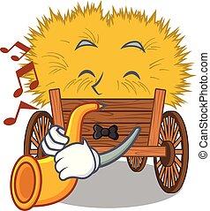 gaveta, hayride, trompete, caricatura, brinquedo