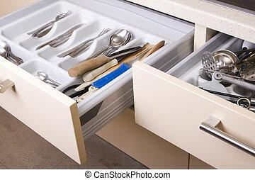 gaveta, organizado, cozinha