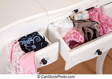 gavetas, cheio, de, lingerie sexy