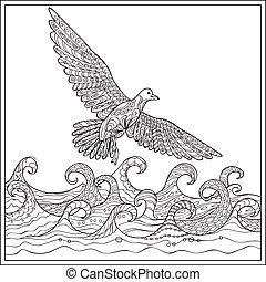 gaviota over the ocean - Hand drawn decorated gaviota over...