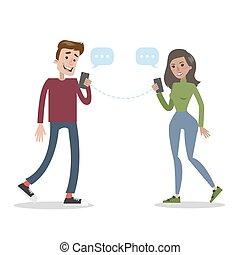 gaworząc, smartphone., ludzie