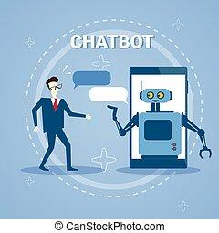 gaworząc, szczebiot, poparcie, bot, telefon, online, ...