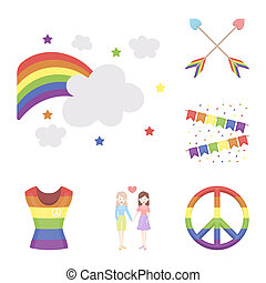 Gay and lesbian cartoon icons in set collection for design. Sexual minority and attributes bitmap symbol stock web illustration.