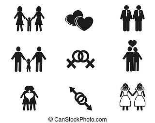gay and lesbian icons set - isolated black gay and lesbian...