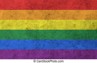 gay, arc-en-ciel, drapeau, sur, mur concret, surface