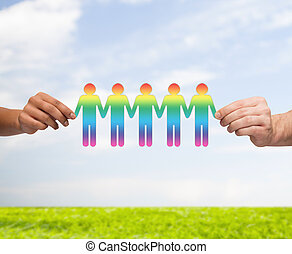 gay, chaîne, gens, haut, papier, tenant mains, fin