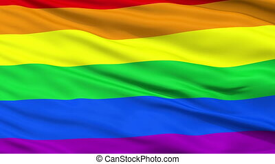 Gay Close Up Waving Flag - Gay Flag, Close Up Realistic 3D...